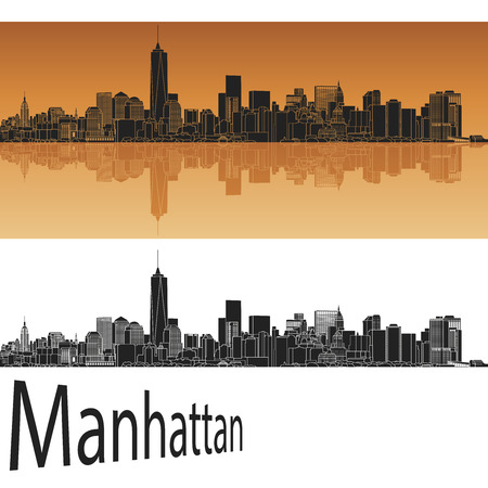 manhattan skyline: Manhattan skyline in orange background