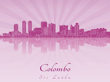 sri: Colombo skyline in purple radiant orchid  Illustration