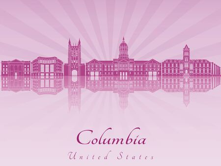 radiant: Columbia MO skyline in purple radiant orchid