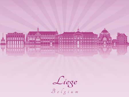 liege: Liege skyline in purple radiant orchid  Illustration