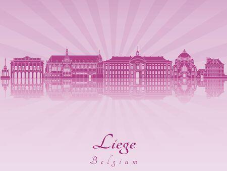 liege: Liege skyline in purple radiant orchid  Illustration