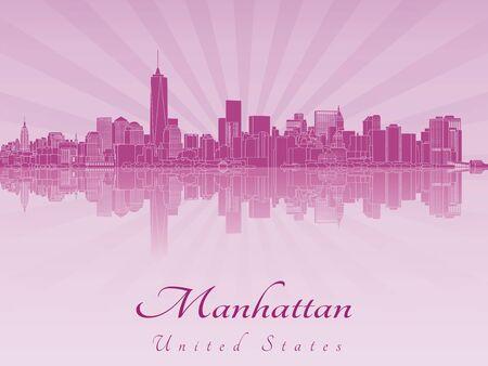 보라색 빛나는 난초에 맨해튼 스카이 라인