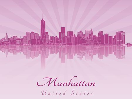 manhattan skyline: Manhattan skyline in purple radiant orchid