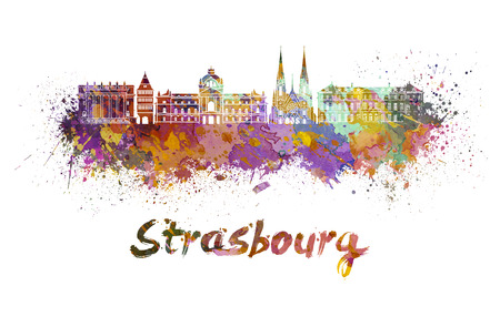 strasbourg: Strasbourg skyline in watercolor splatters