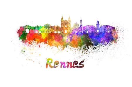 europa: Horizonte de Rennes en salpicaduras de acuarela