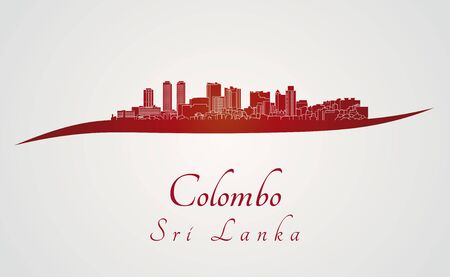 Colombo skyline in red and gray background
