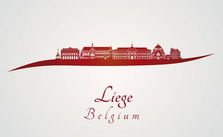 liege: Liege skyline in red and gray background