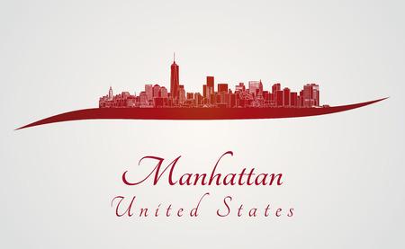 赤と灰色のバック グラウンドでマンハッタンのスカイライン