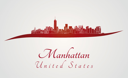city buildings: Manhattan skyline in red and gray background Illustration