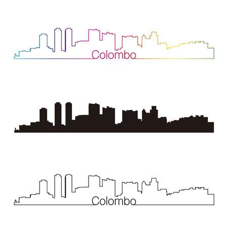 colombo: Colombo skyline linear style with rainbow Illustration
