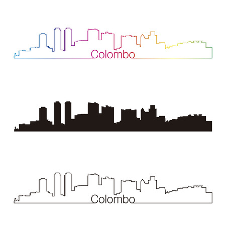 Colombo skyline linear style with rainbow Illustration