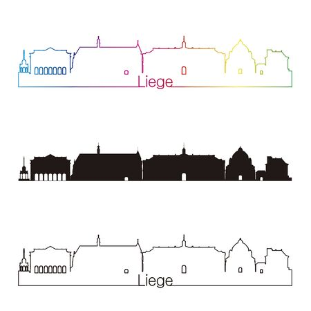 liege: Liege skyline linear style with rainbow