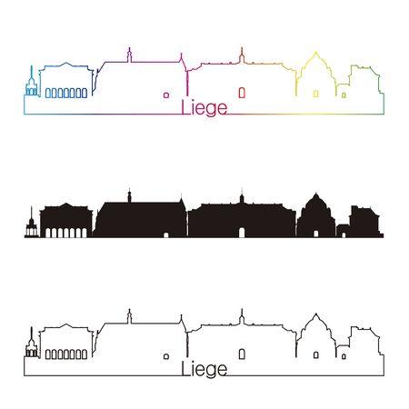 liege: Liege skyline linear style with rainbow