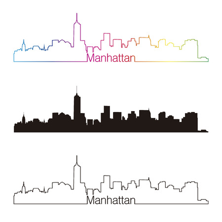 manhattan skyline: Manhattan skyline linear style with rainbow Illustration
