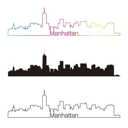 skyline city: Manhattan skyline linear style with rainbow Illustration