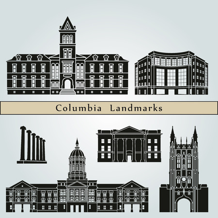 monuments: Columbia landmarks and monuments isolated on blue background