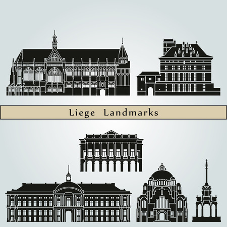 monuments: Liege landmarks and monuments isolated on blue background in editable vector file