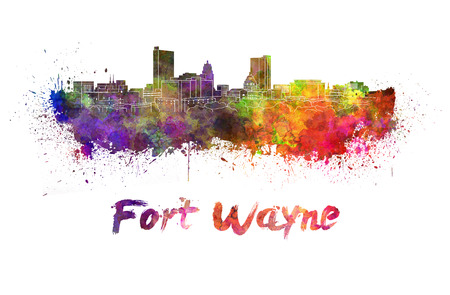 Fort Wayne skyline in watercolor splatters with clipping path