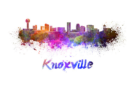 Knoxville skyline in watercolor splatters with