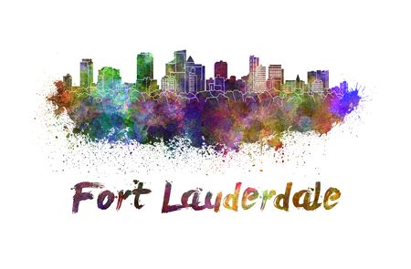 fort: Fort Lauderdale skyline in watercolor splatters with clipping path Stock Photo