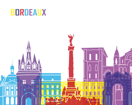 bordeaux: Bordeaux skyline pop in editable vector file
