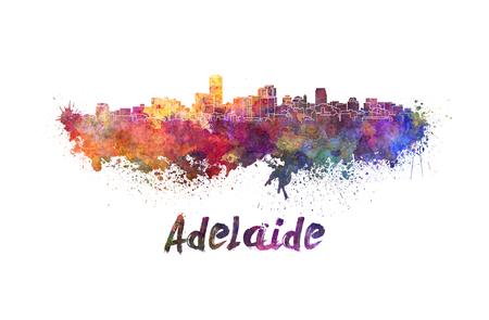 adelaide: Adelaide skyline in watercolor splatters