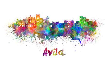 avila: Avila skyline in watercolor splatters