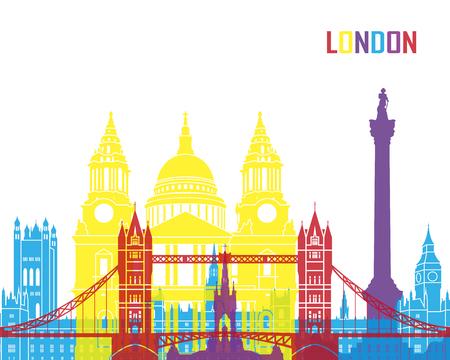 편집 가능한 파일의 런던 스카이 라인 팝 일러스트