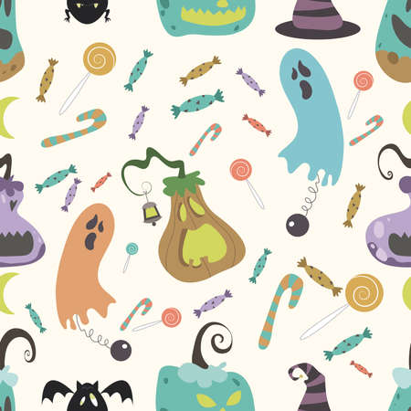 01: Halloween pumpkin pattern 01 in editable file Illustration