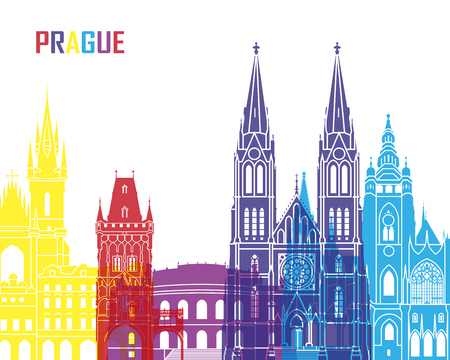 prague: Prague skyline pop in editable vector file