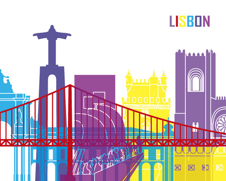 portugal: Lisbon skyline pop in editable vector file Illustration