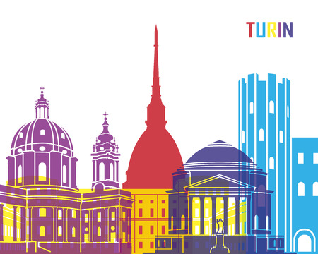 Turin skyline pop in editable vector file Reklamní fotografie - 45305948