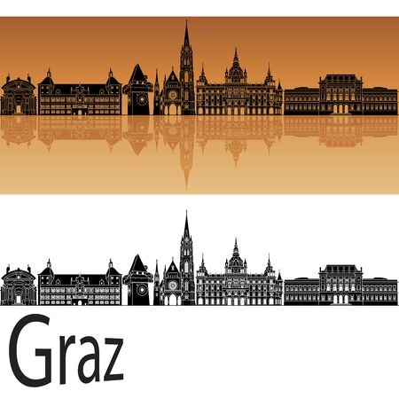 Graz skyline in orange background in editable vector file