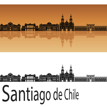 santiago: Santiago de Chile skyline in orange background in editable vector file Illustration