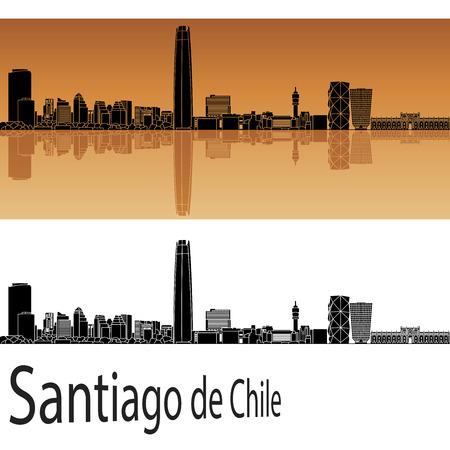 편집 가능한 벡터 파일에 오렌지 배경에서 산티아고 데 칠레 스카이 라인 일러스트