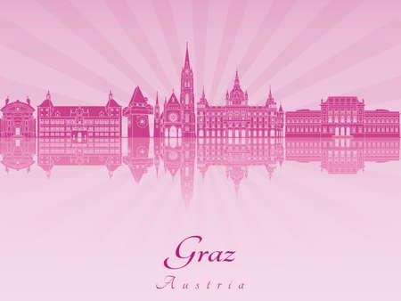 radiant: Graz skyline in purple radiant orchid in editable vector file Illustration