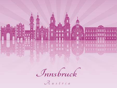 innsbruck: Innsbruck skyline in purple radiant orchid in editable vector file