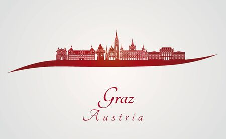 Graz skyline in red and gray background in editable vector file