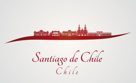 santiago: Santiago de Chile skyline in red and gray background in editable vector file