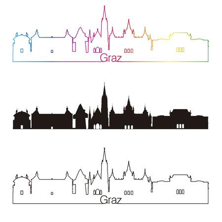 編集可能なベクトル ファイルで虹とグラーツ スカイライン線形スタイル
