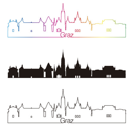 Graz skyline linear style with rainbow in editable vector file Иллюстрация