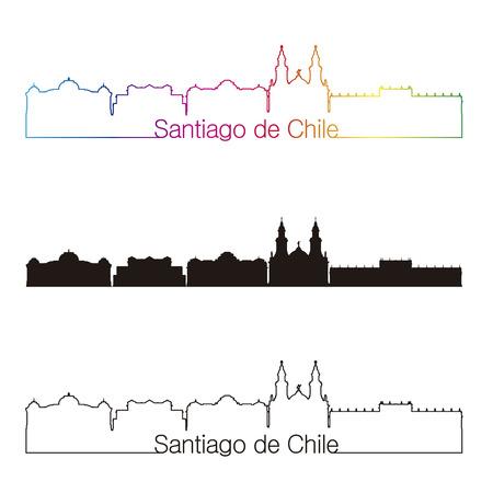 santiago: Santiago de Chile skyline linear style with rainbow in editable vector file