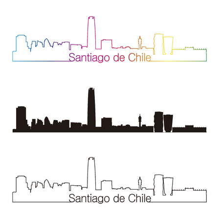 santiago: Santiago de Chile skyline linear style with rainbow in editable vector file
