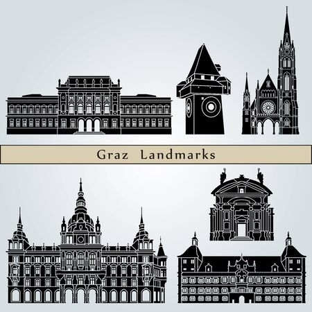 Graz landmarks and monuments isolated on blue background in editable vector file
