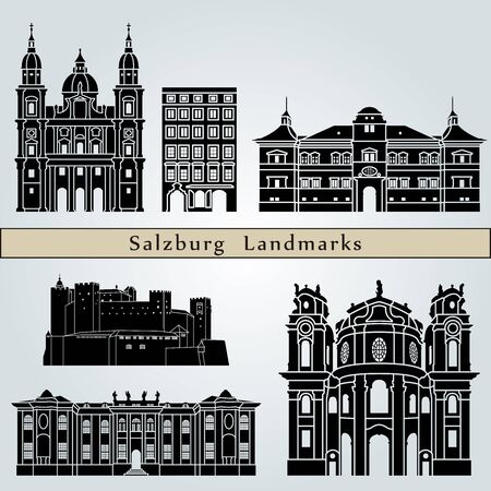 austria: Salzburg landmarks and monuments isolated on blue background in editable vector file