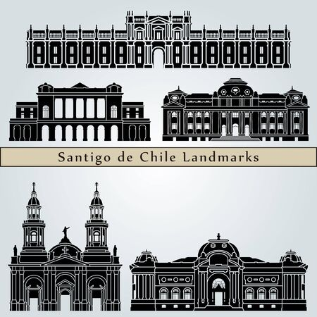 santiago: Santiago de Chile landmarks and monuments isolated on blue background in editable vector file
