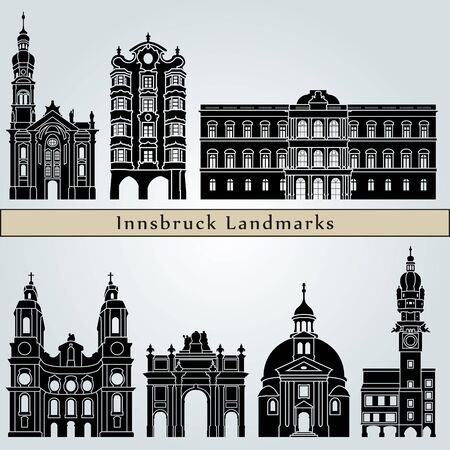 austria: Innsbruck landmarks and monuments isolated on blue background in editable vector file Illustration