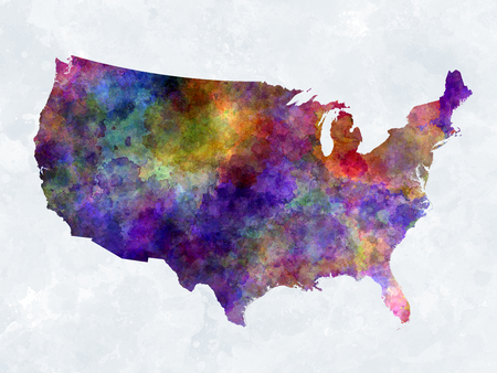 splatter paint: USA map in watercolor painting abstract splatters