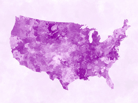 USA map in watercolor painting abstract splatters