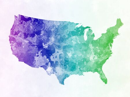 watercolor painting: USA map in watercolor painting abstract splatters